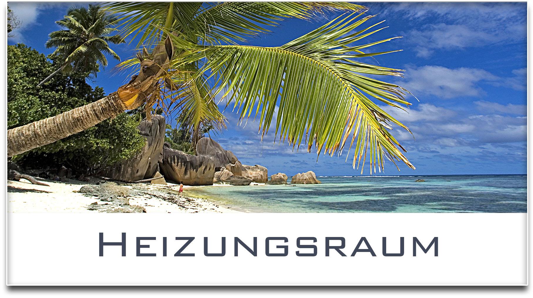 Türschild / Haustürschild / Palme / Strand / Heizungsraum / Selbstklebend