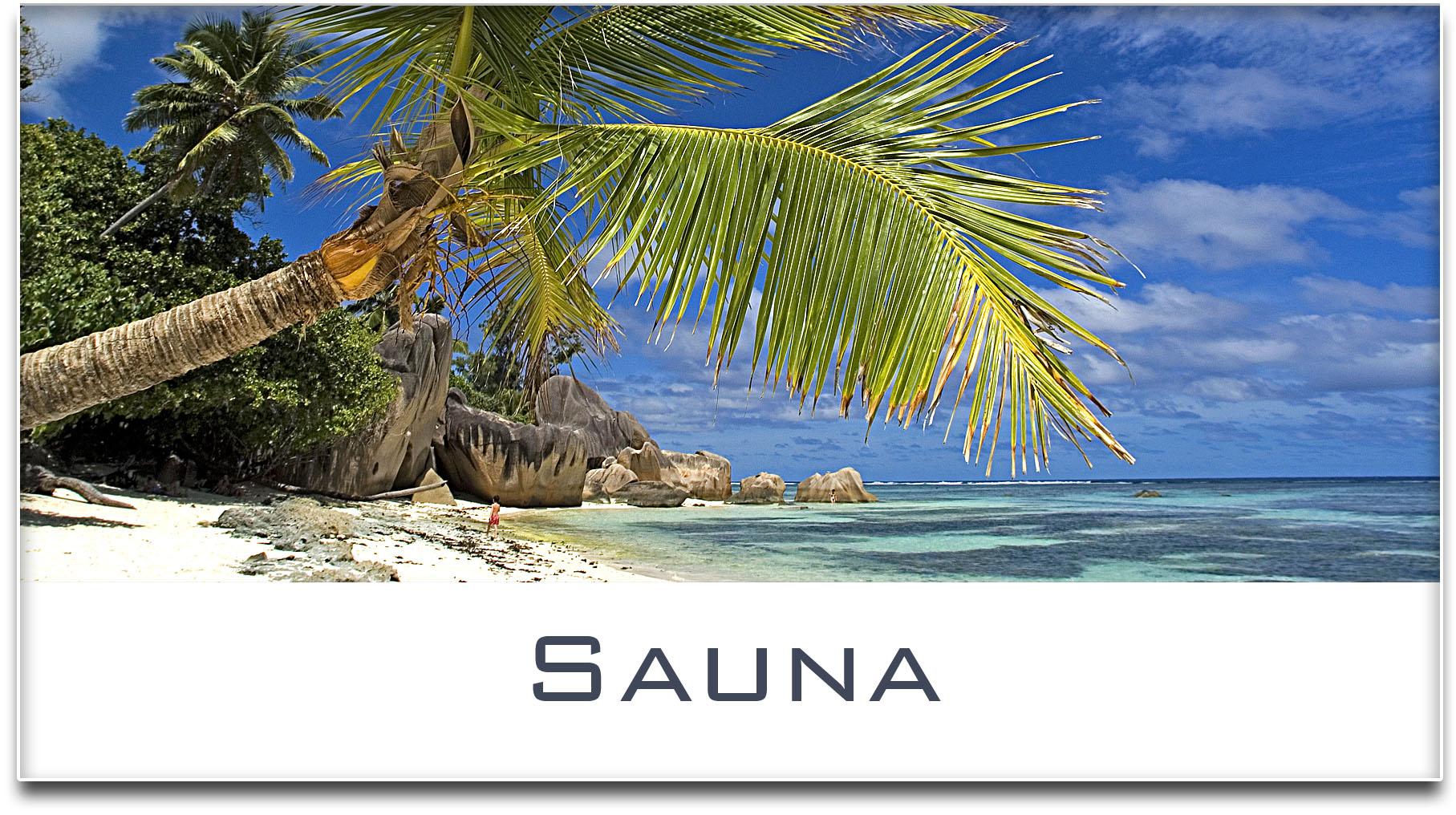 Türschild / Haustürschild / Palme / Strand / Sauna / Selbstklebend