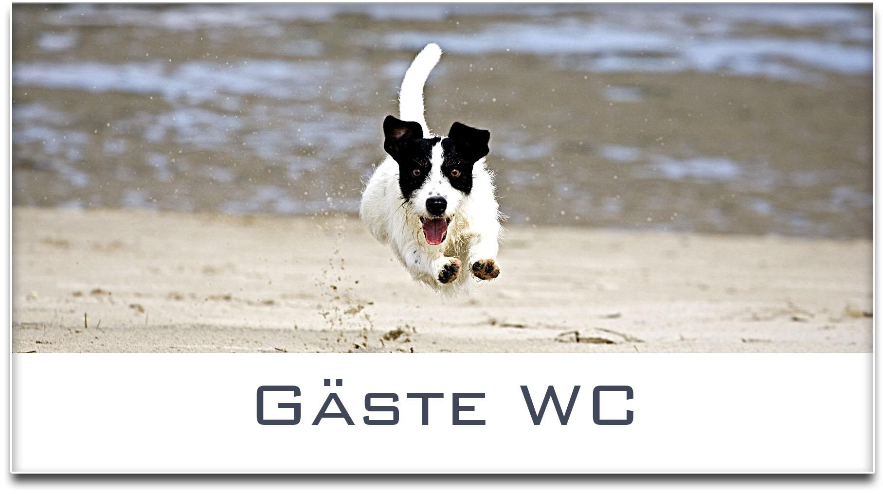 Türschild / Jack Russel Terrier / Hund / Gäste WC / Selbstklebend