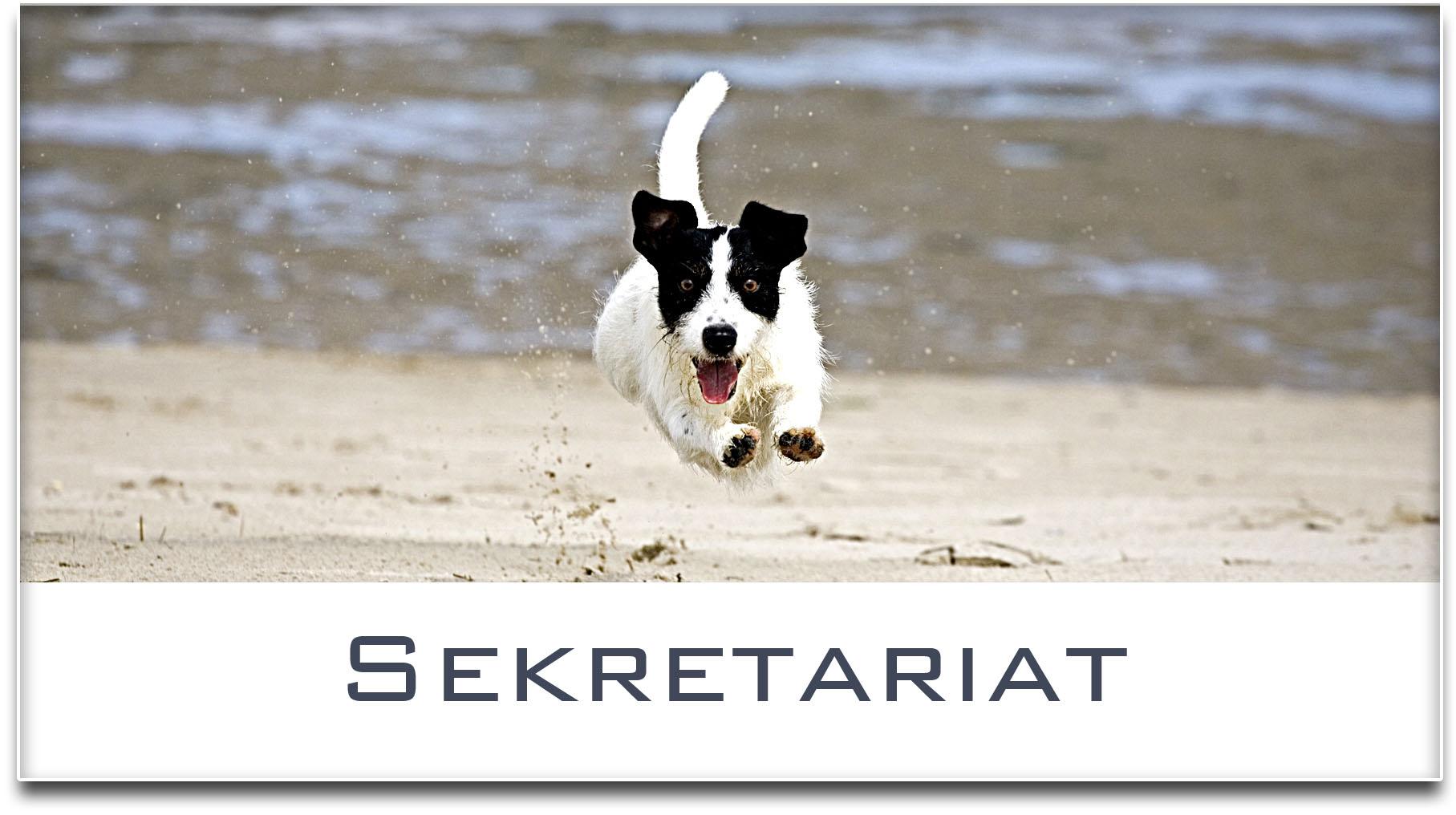 Türschild / Jack Russel Terrier / Hund / Sekretariat / Selbstklebend