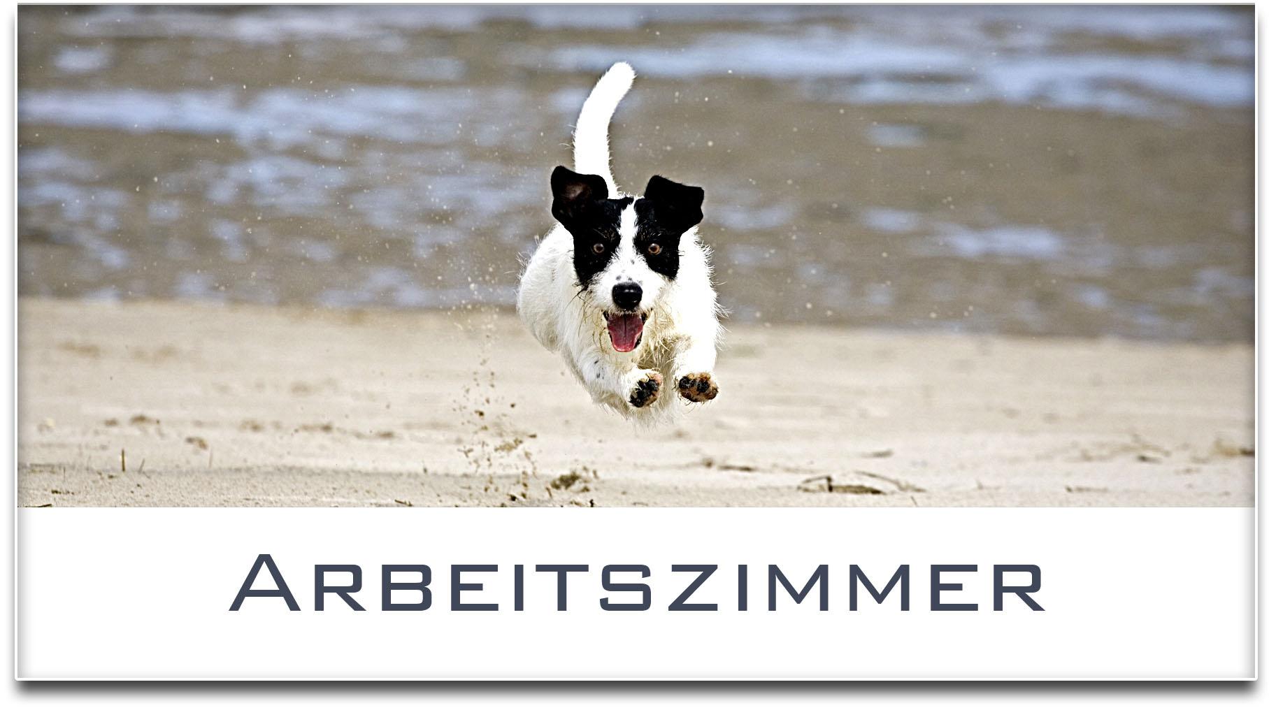 Türschild / Jack Russel Terrier / Hund / Arbeitszimmer / Selbstklebend