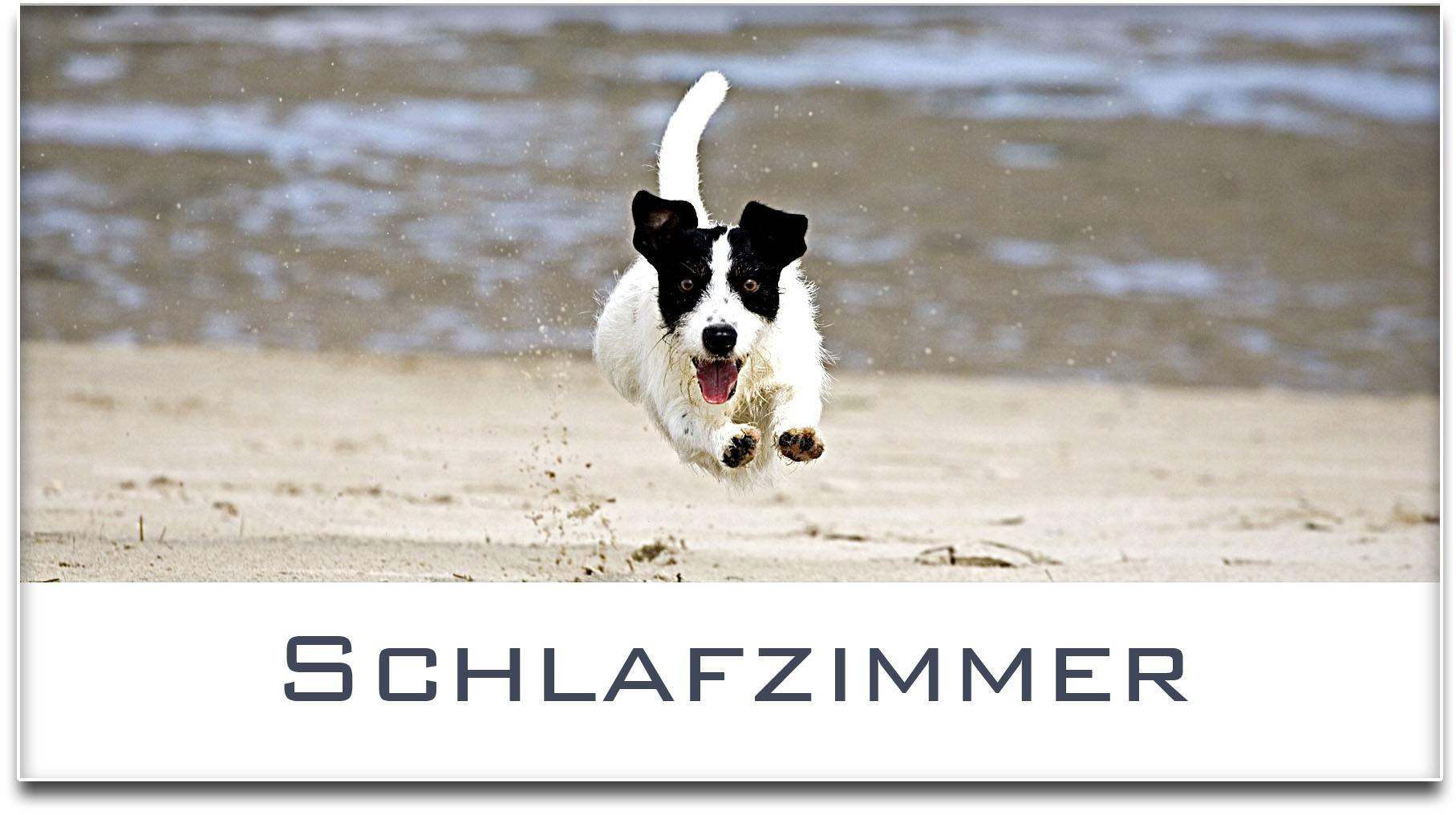 Türschild / Jack Russel Terrier / Hund / Schlafzimmer / Selbstklebend