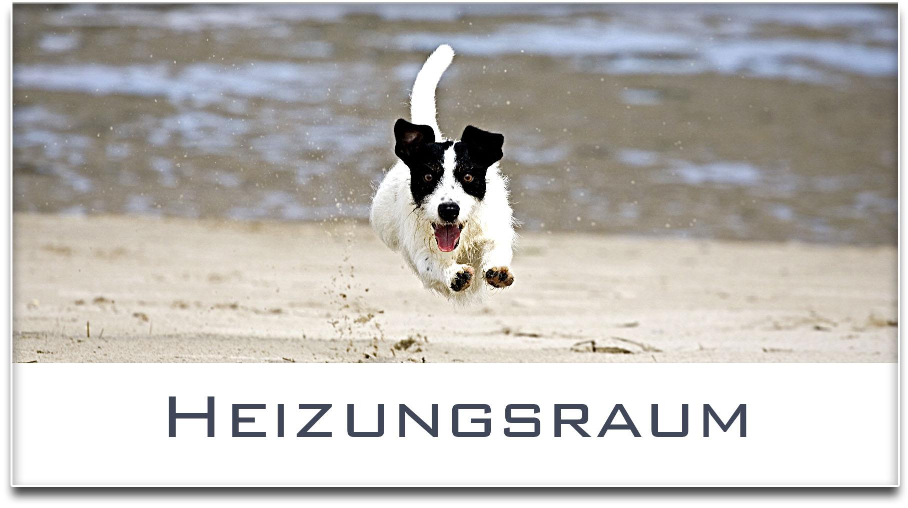 Türschild / Jack Russel Terrier / Hund / Heizungsraum / Selbstklebend