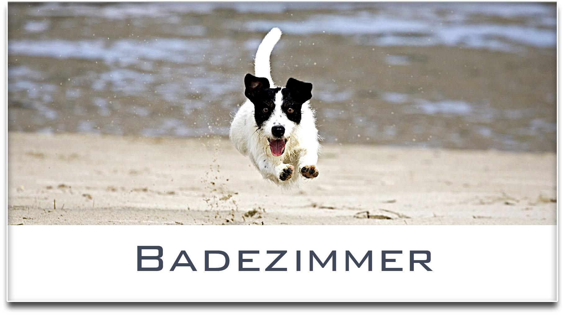 Türschild / Jack Russel Terrier / Hund / Badezimmer / Selbstklebend