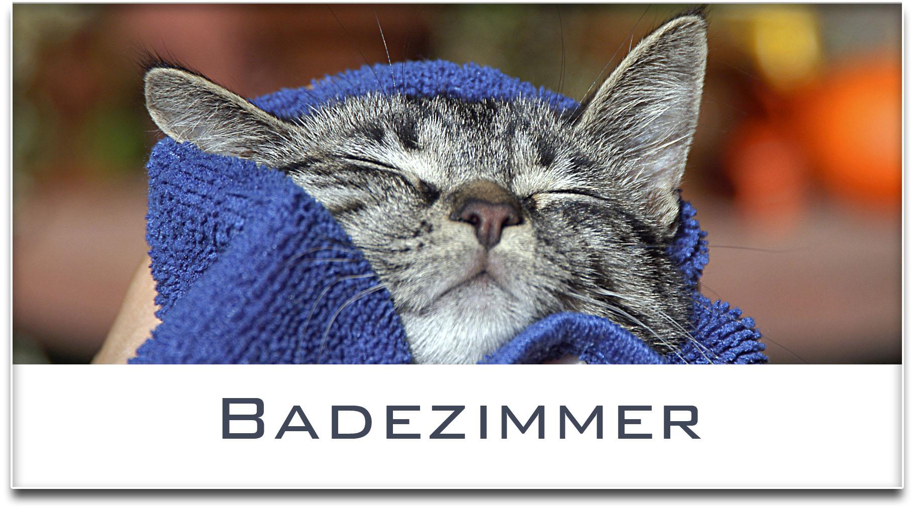 Türschild / Haustürschild / Katze / Badezimmer / Selbstklebend