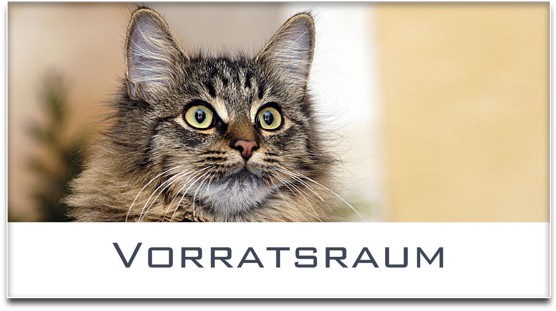 Türschild / Haustürschild / Katze / Vorratsraum / Selbstklebend