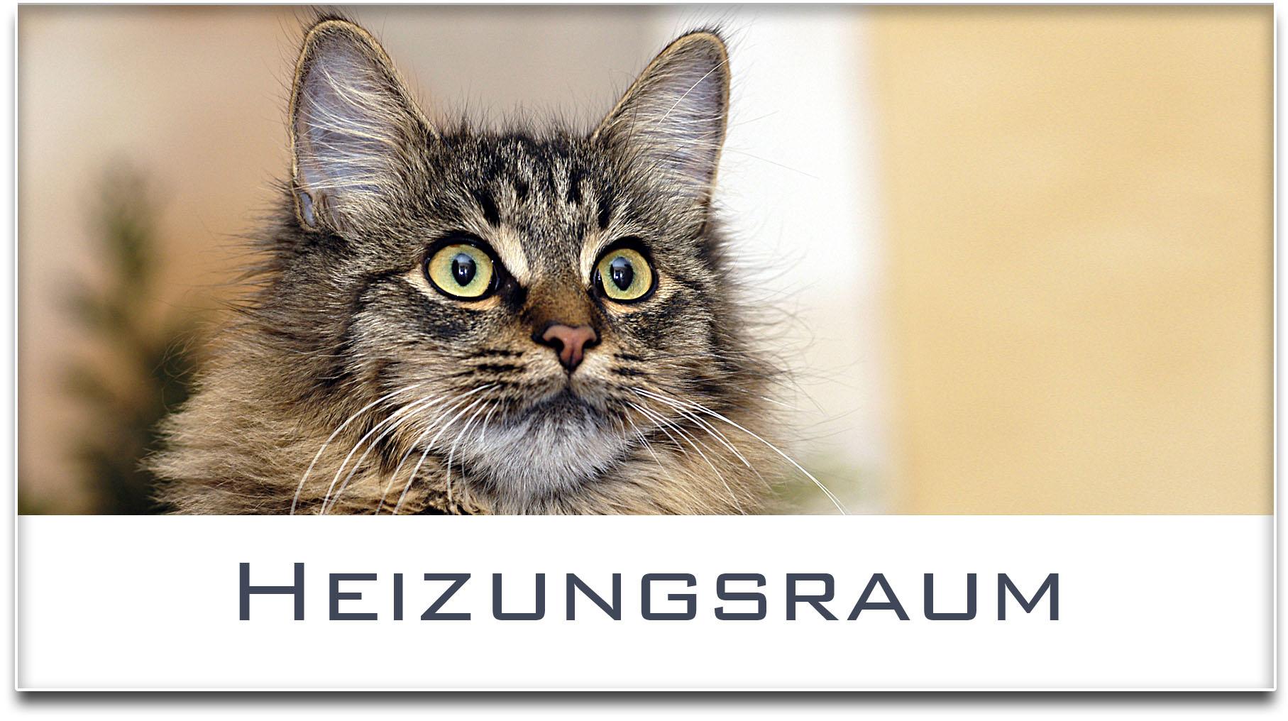 Türschild / Haustürschild / Katze / Heizungsraum / Selbstklebend