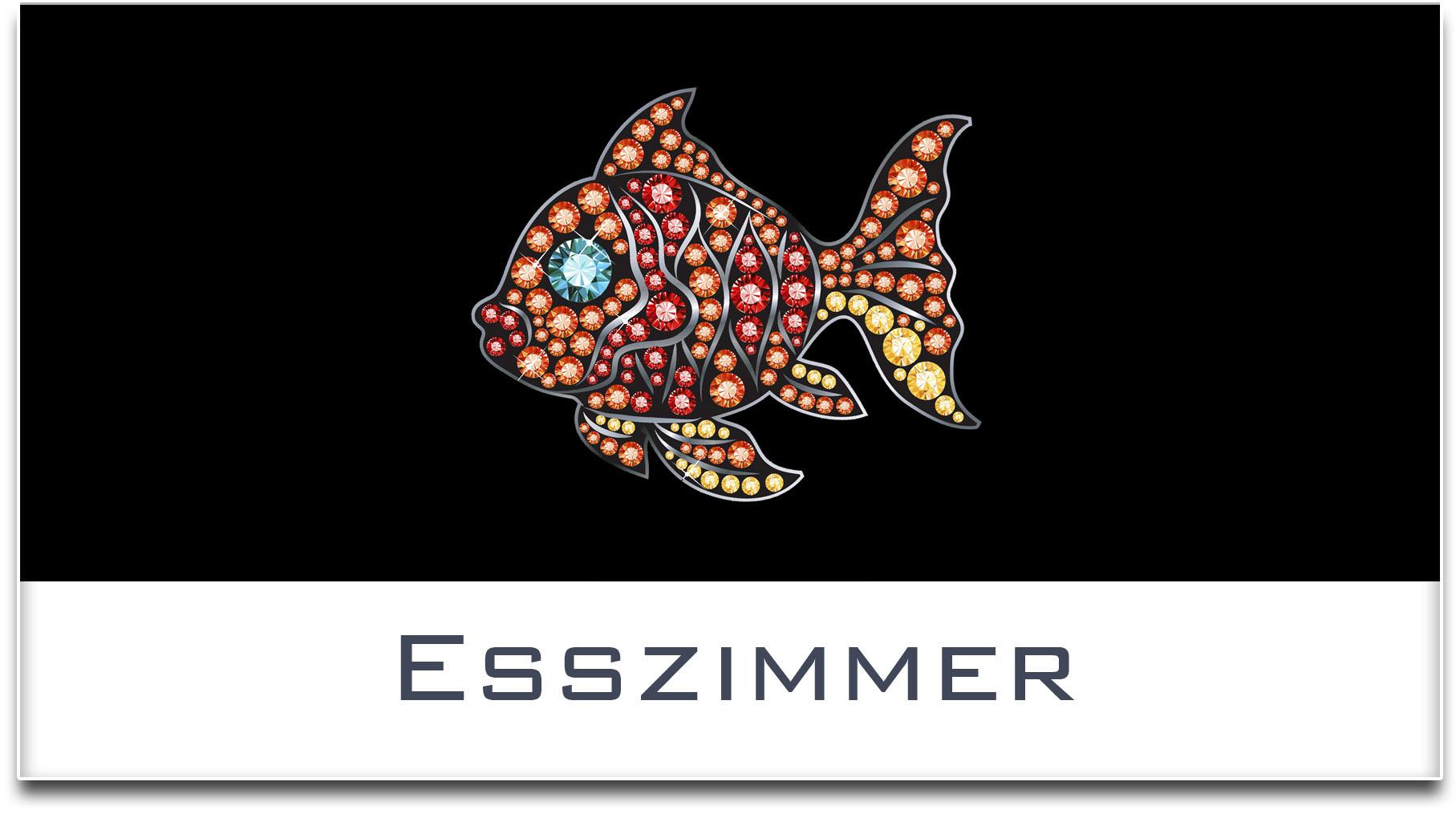Türschild / Haustürschild / Fisch / Esszimmer / Selbstklebend