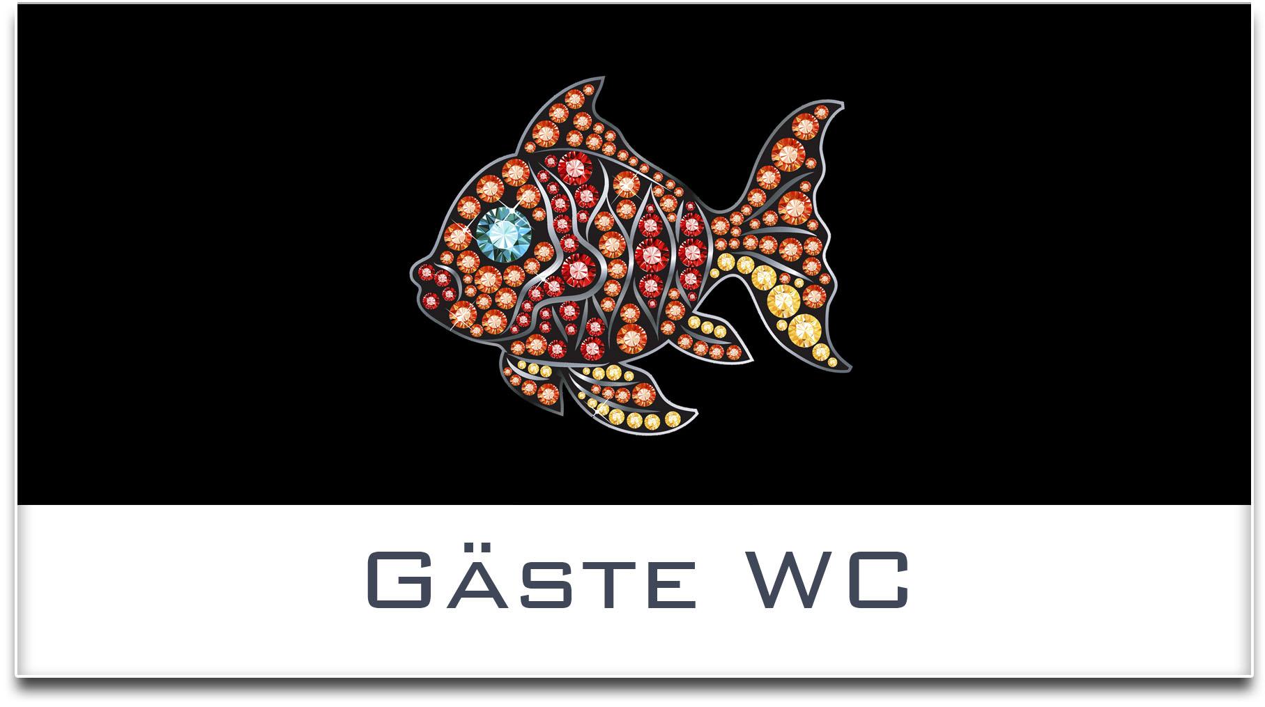 Türschild / Haustürschild / Fisch / Gäste WC / Selbstklebend