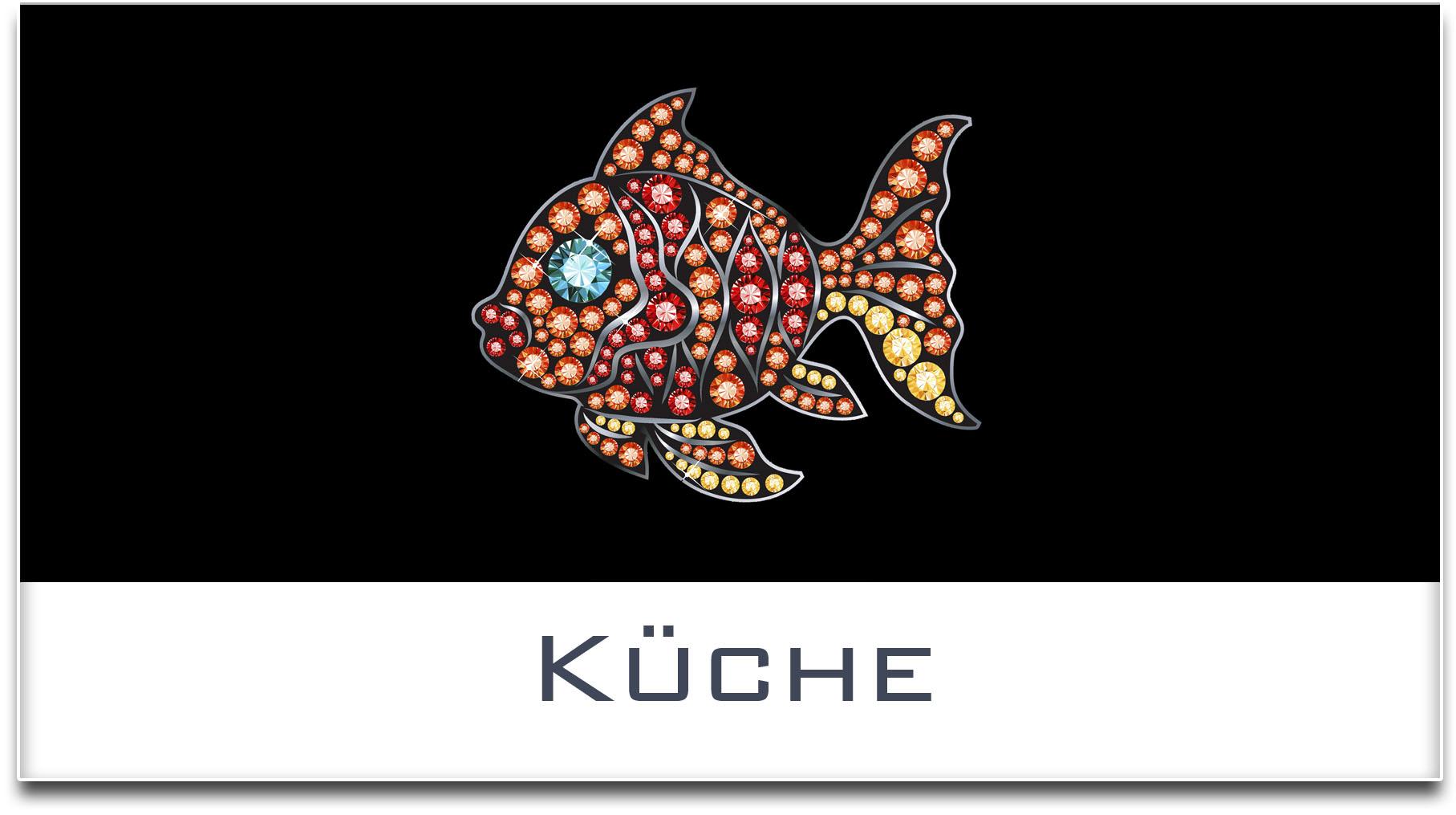 Türschild / Haustürschild / Fisch / Küche / Selbstklebend