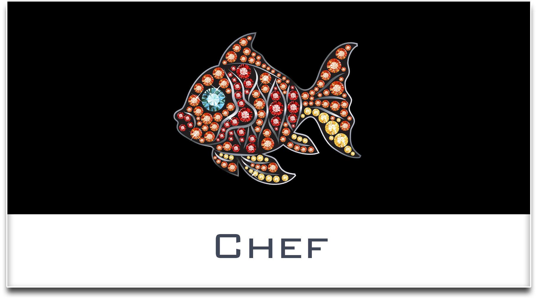 Türschild / Haustürschild / Fisch / Chef / Selbstklebend