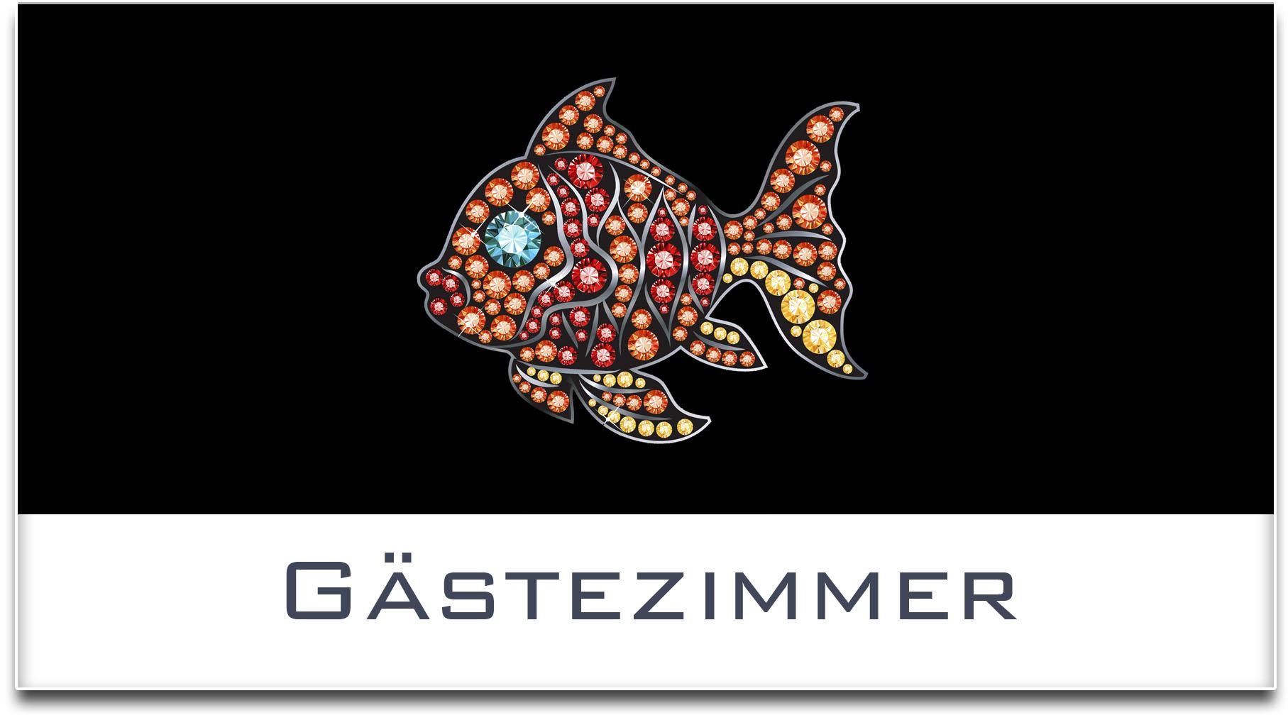 Türschild / Haustürschild / Fisch / Gästezimmer / Selbstklebend