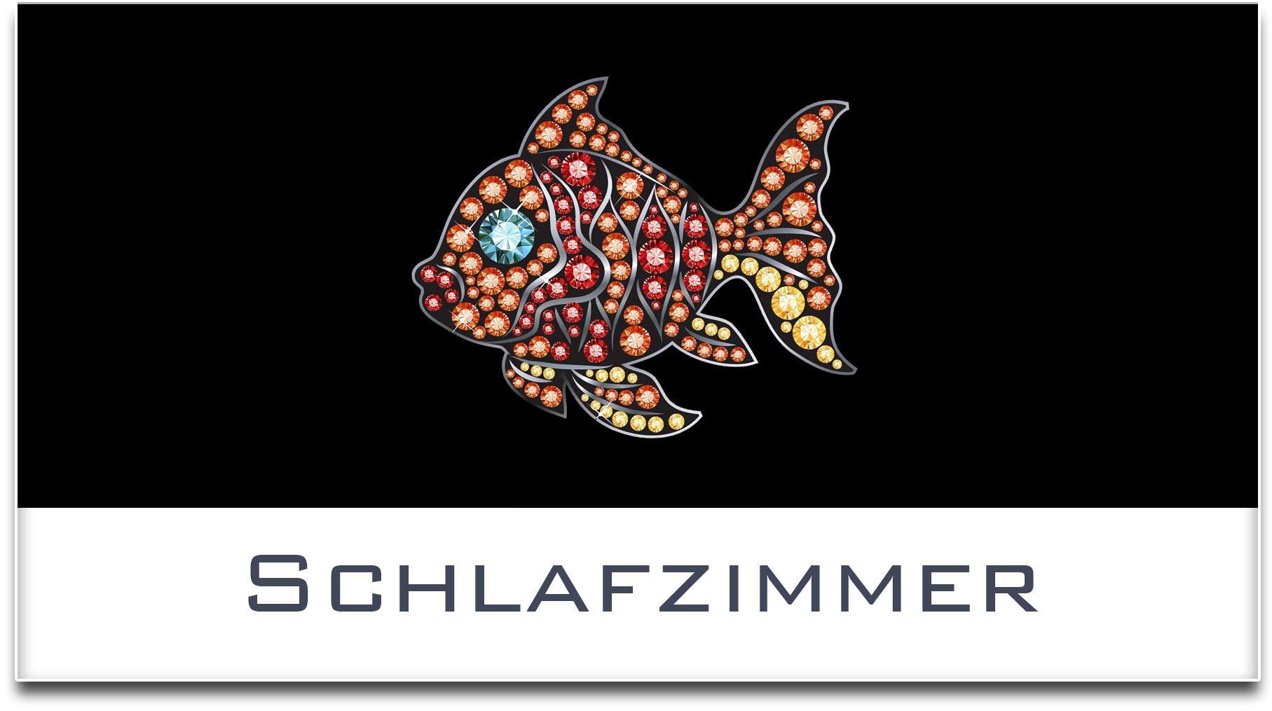 Türschild / Haustürschild / Fisch / Schlafzimmer / Selbstklebend