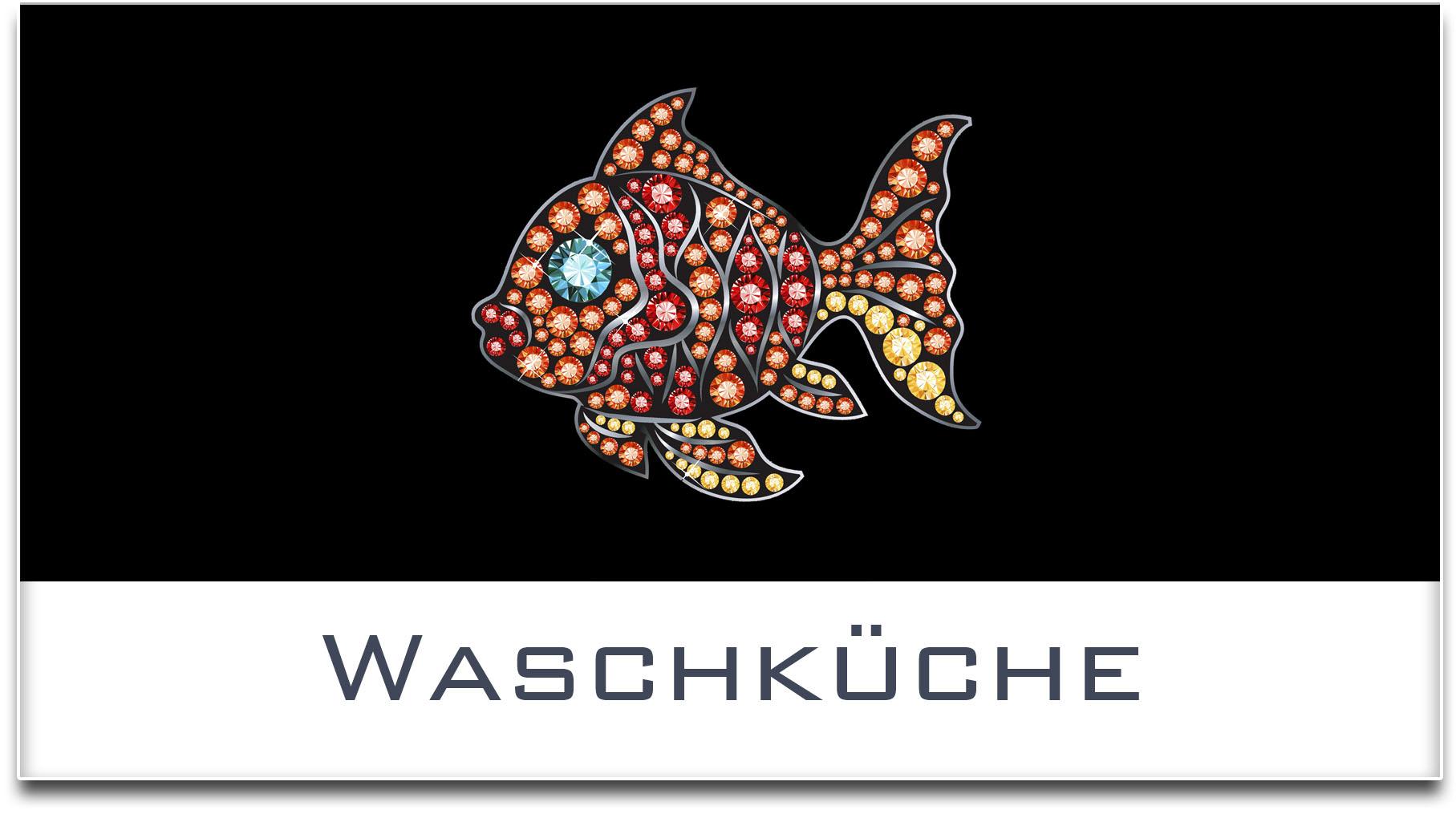 Türschild / Haustürschild / Fisch / Waschküche / Selbstklebend