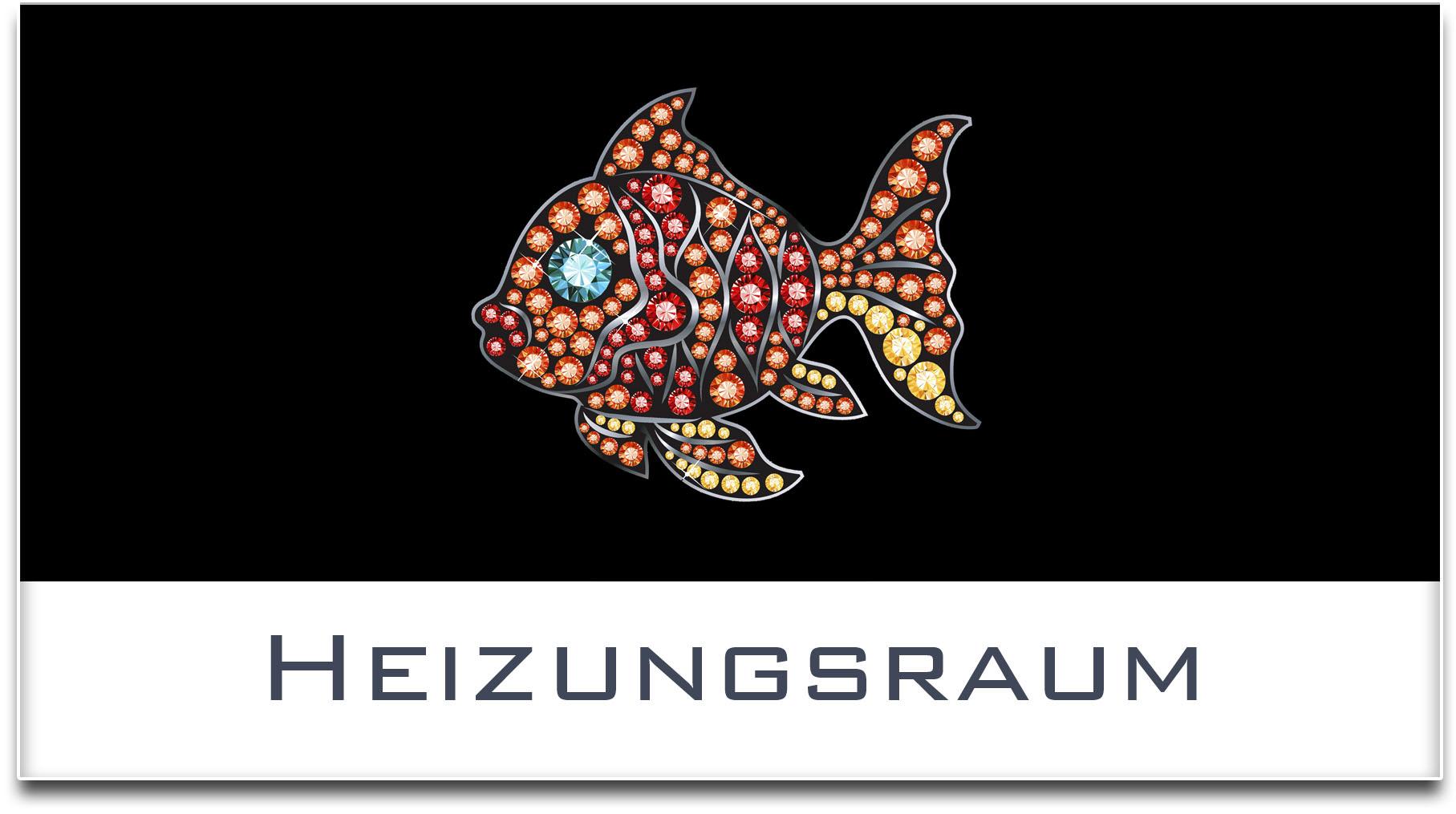 Türschild / Haustürschild / Fisch / Heizungsraum / Selbstklebend