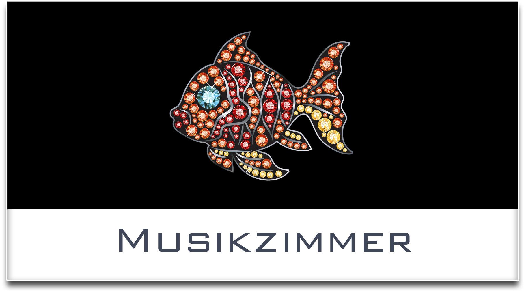 Türschild / Haustürschild / Fisch / Musikzimmer / Selbstklebend