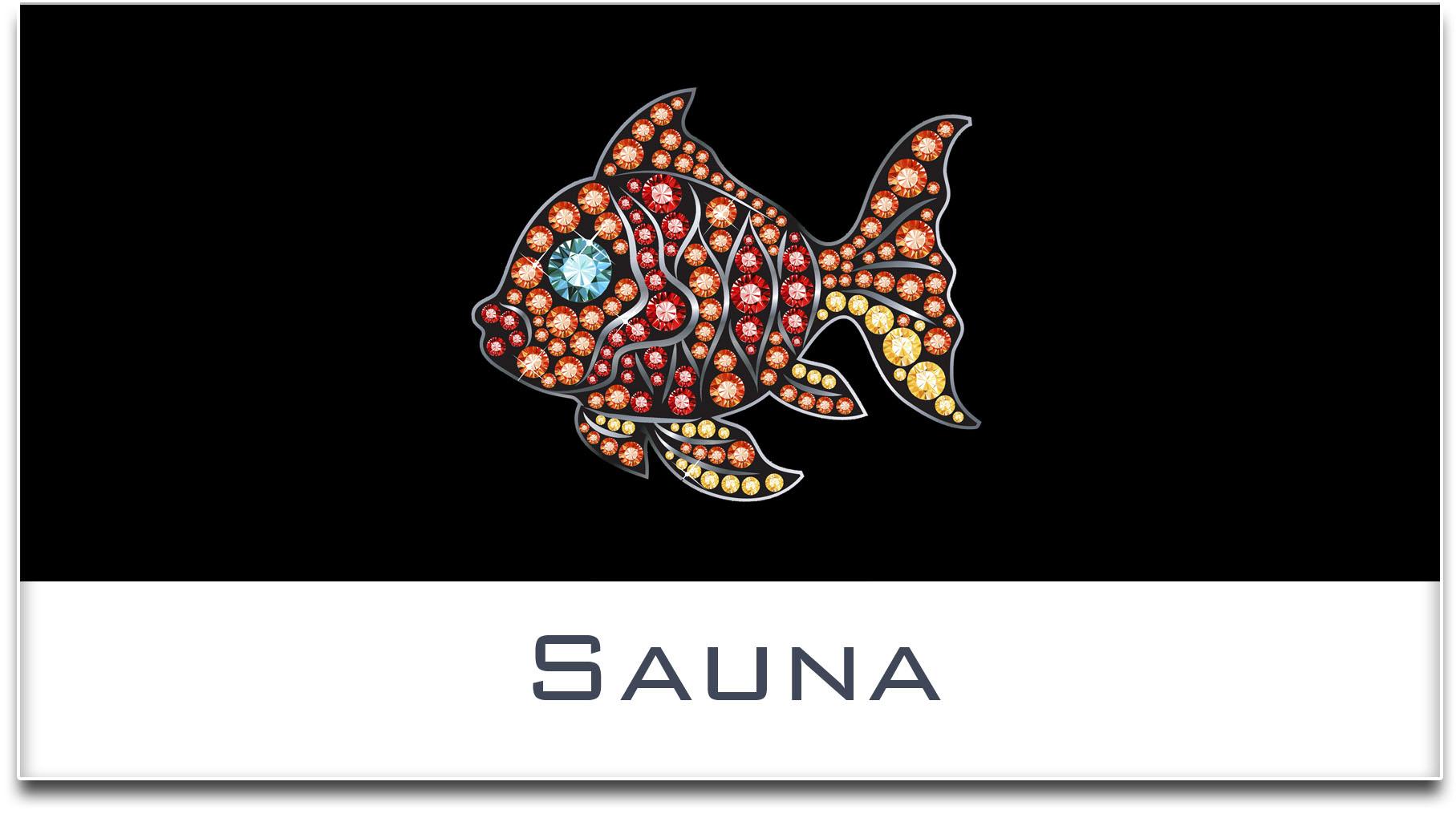 Türschild / Haustürschild / Fisch / Sauna / Selbstklebend