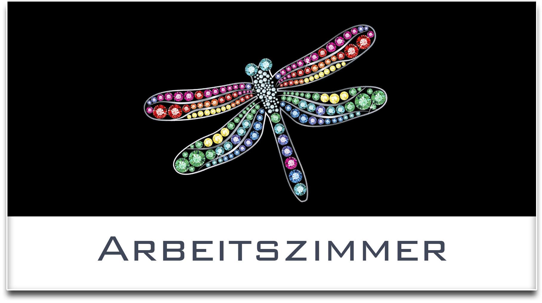 Türschild / Haustürschild / Libelle / Arbeitszimmer / Selbstklebend