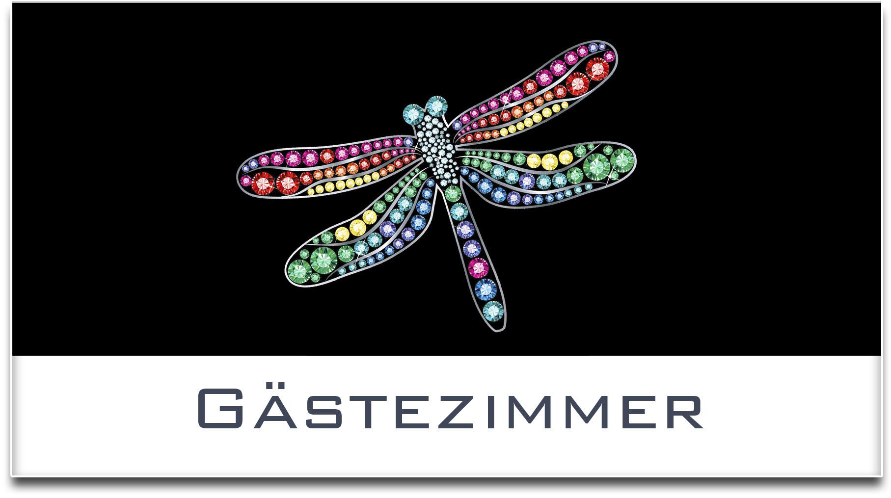 Türschild / Haustürschild / Libelle / Gästezimmer / Selbstklebend