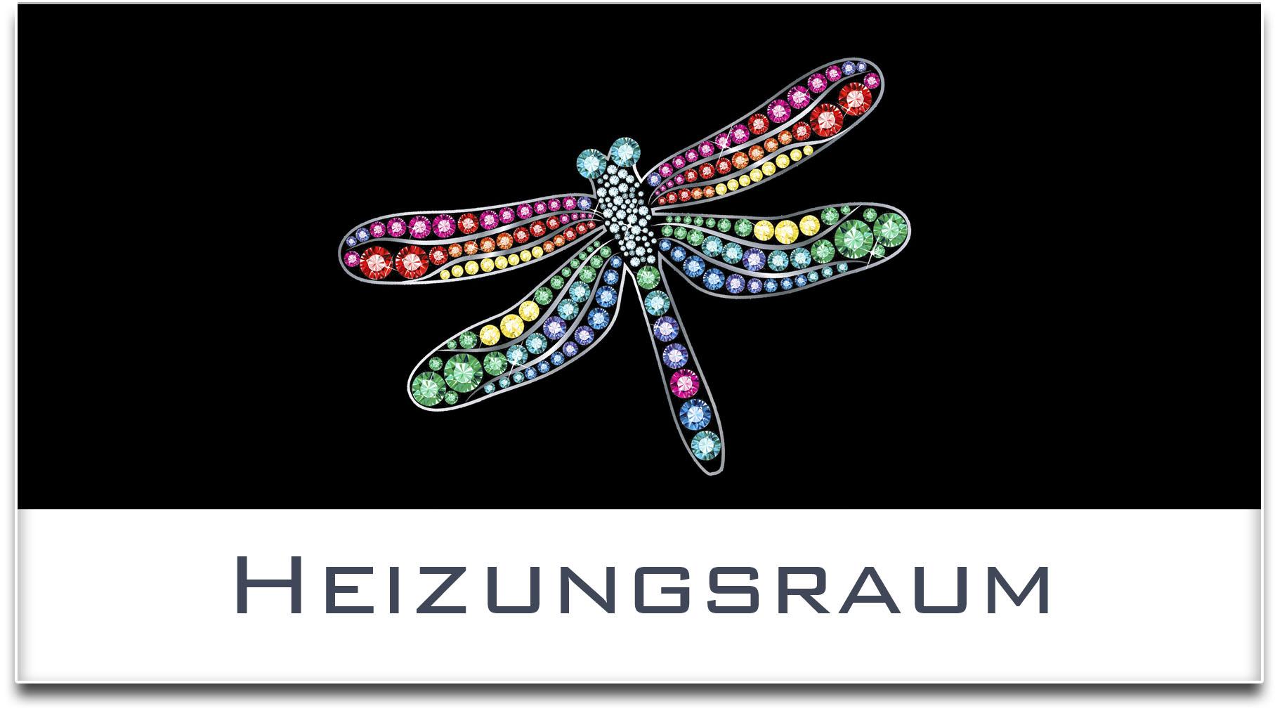 Türschild / Haustürschild / Libelle / Heizungsraum / Selbstklebend