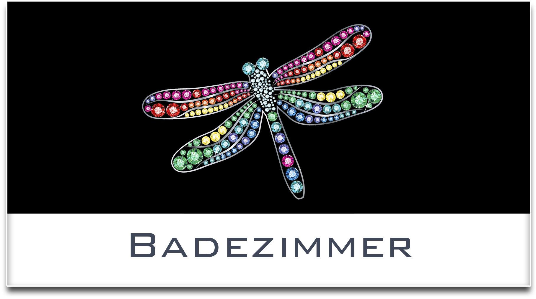 Türschild / Haustürschild / Libelle / Badezimmer / Selbstklebend