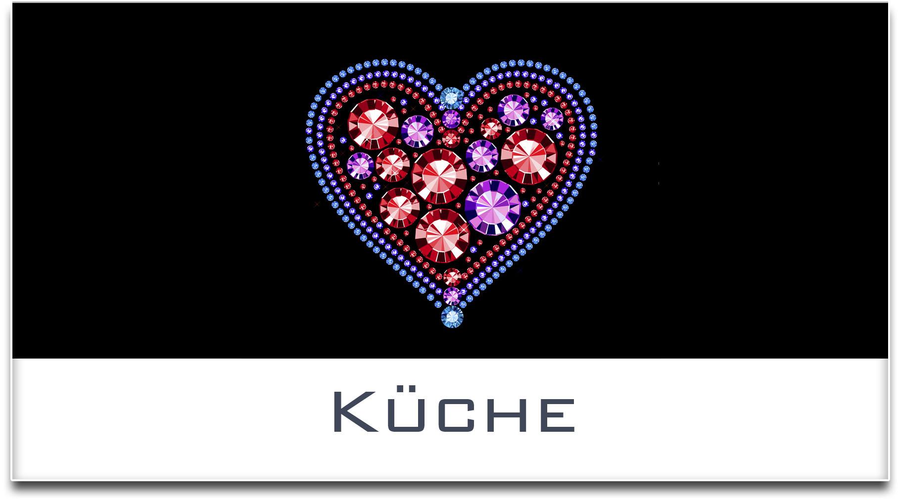 Türschild / Haustürschild / Herz / Küche / Selbstklebend