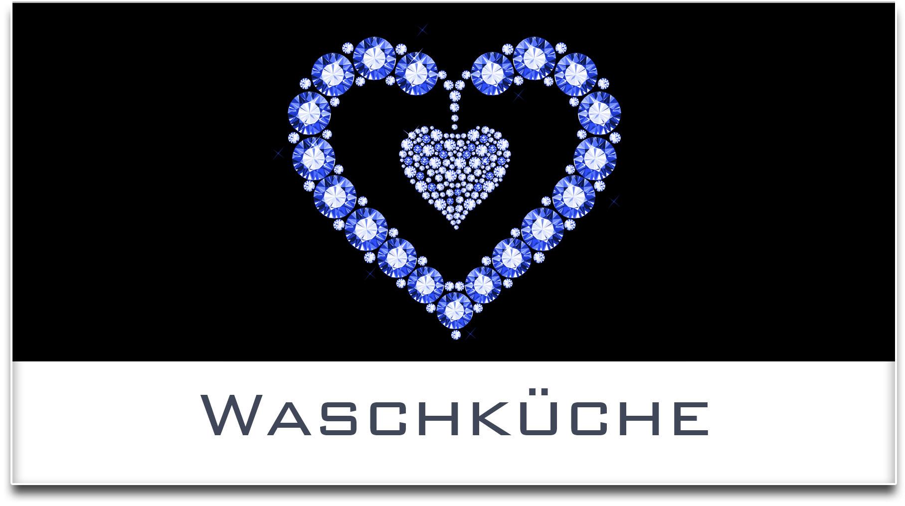 Türschild / Haustürschild / Herz / Waschküche / Selbstklebend
