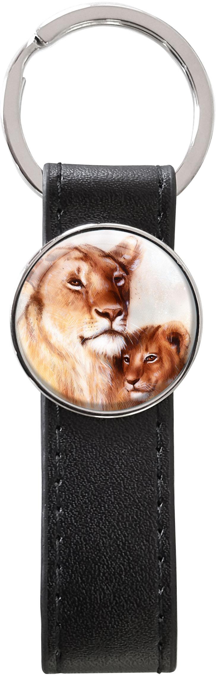 Schlüsselanhänger PU - Leder / Löwen / Raubtiere / Wildkatzen