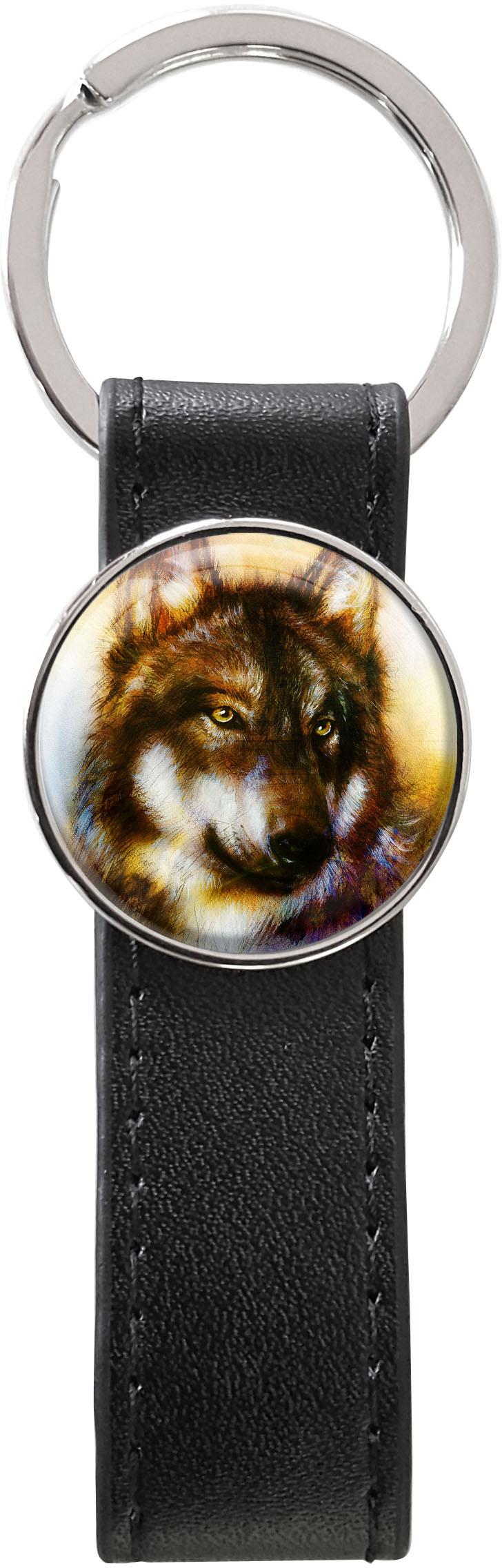Schlüsselanhänger PU - Leder / Wolf / Raubtiere / Wild
