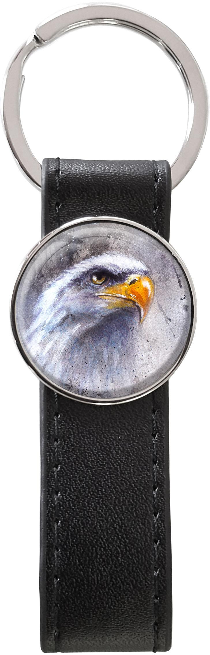 Schlüsselanhänger PU - Leder / Adler / Weißkopfseeadler / Raubvogel