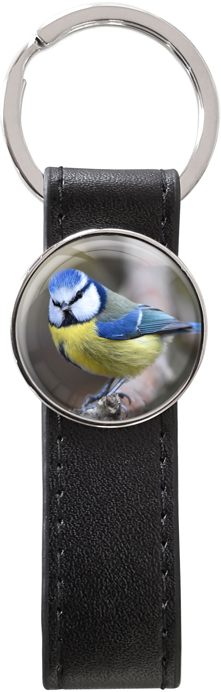 Schlüsselanhänger PU - Leder / Meise / Vögel