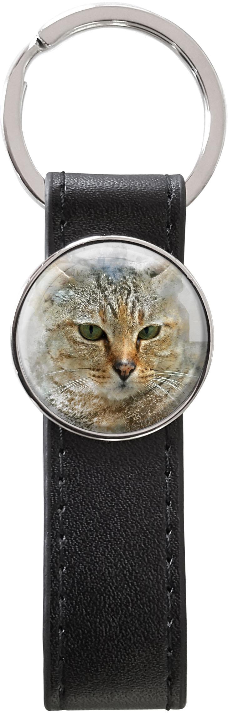 Schlüsselanhänger PU - Leder / Katze