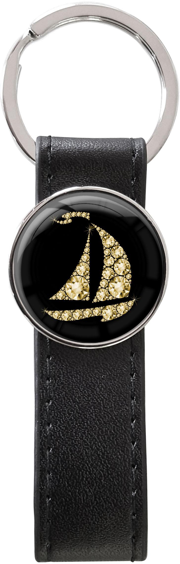 Schlüsselanhänger PU - Leder / Segelboot in Gold