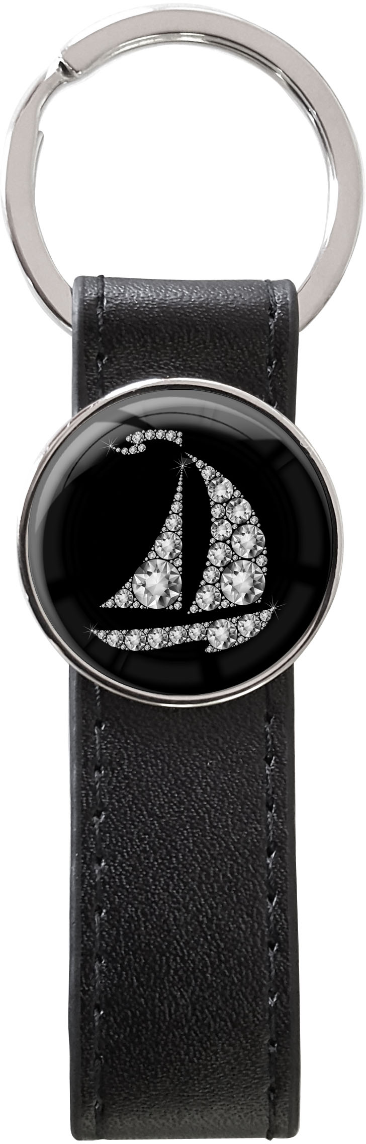 Schlüsselanhänger PU - Leder / Segelboot in Silber