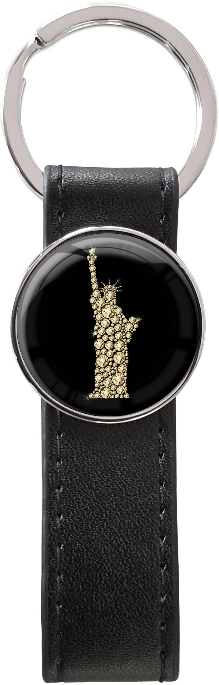 Schlüsselanhänger PU - Leder / Freiheitsstatue in Gold