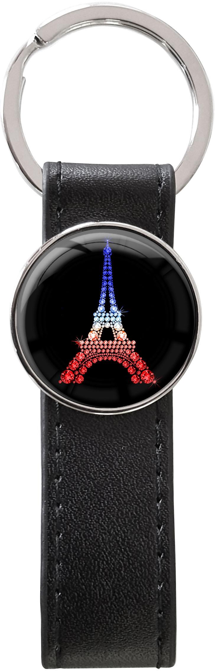 Schlüsselanhänger PU - Leder / Eiffelturm Tricolore