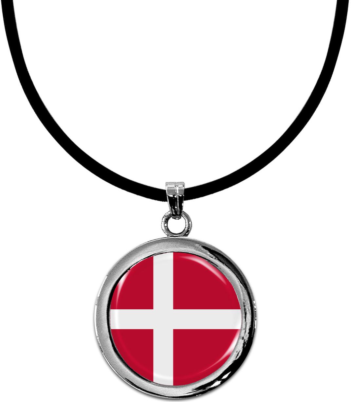Kettenanhänger / Dänemark / Silikonband mit Silberverschluss