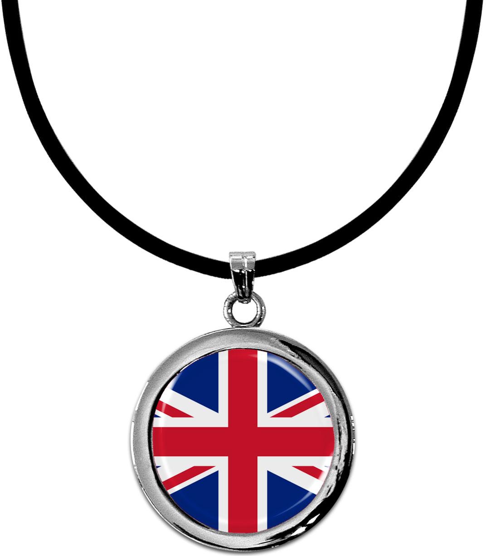 Kettenanhänger / Großbritannien / Silikonband mit Silberverschluss