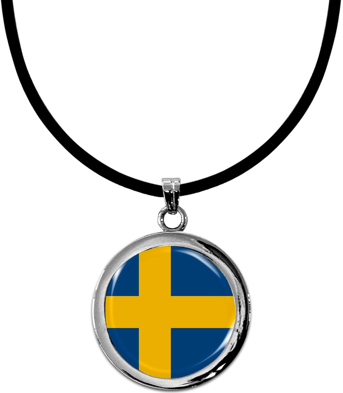Kettenanhänger / Schweden / Silikonband mit Silberverschluss