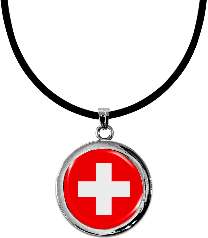 Kettenanhänger / Schweiz / Silikonband mit Silberverschluss