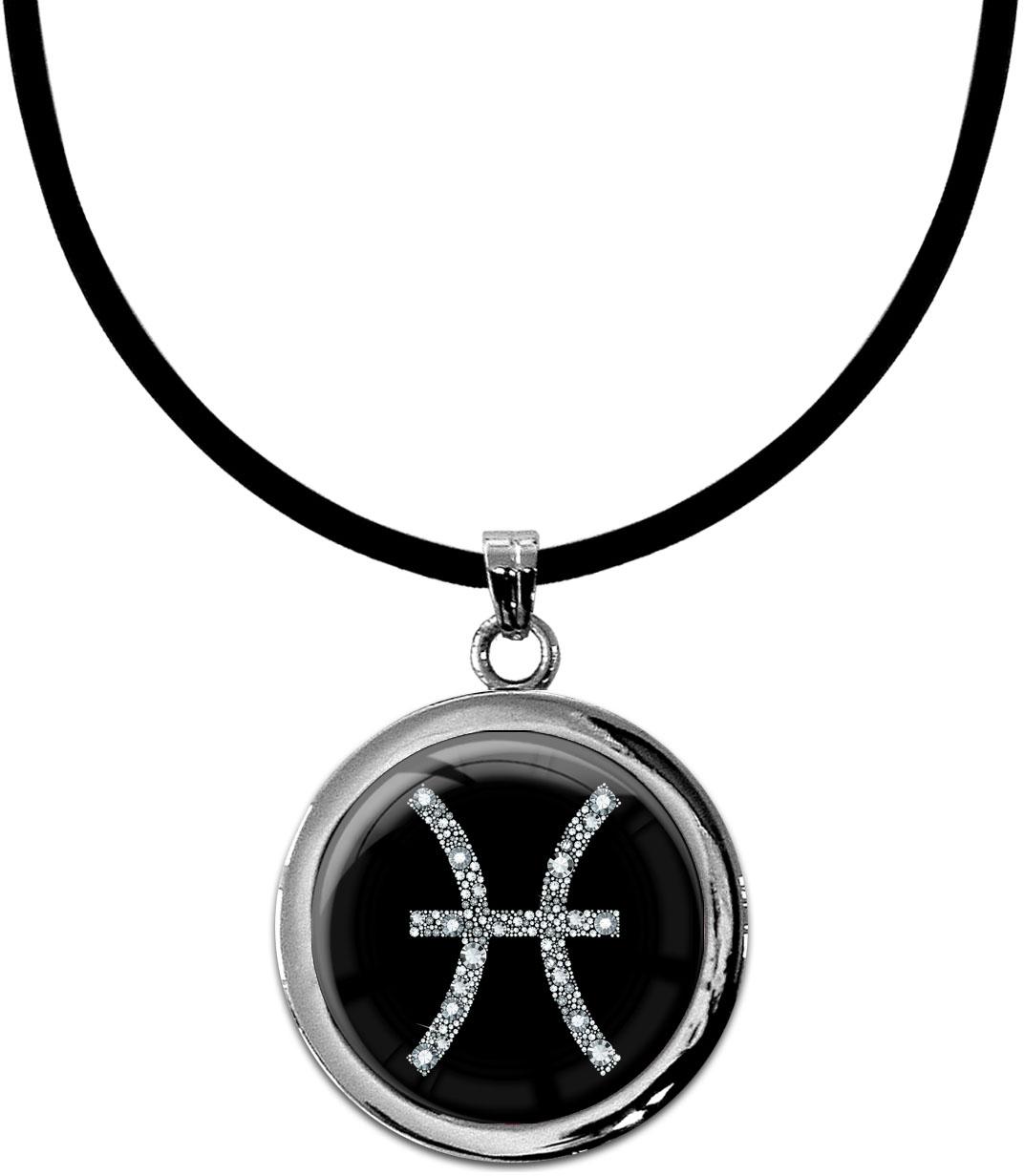 """metALUm Kettenanhänger in runder Form """"Sternzeichen Fische in Silber"""""""