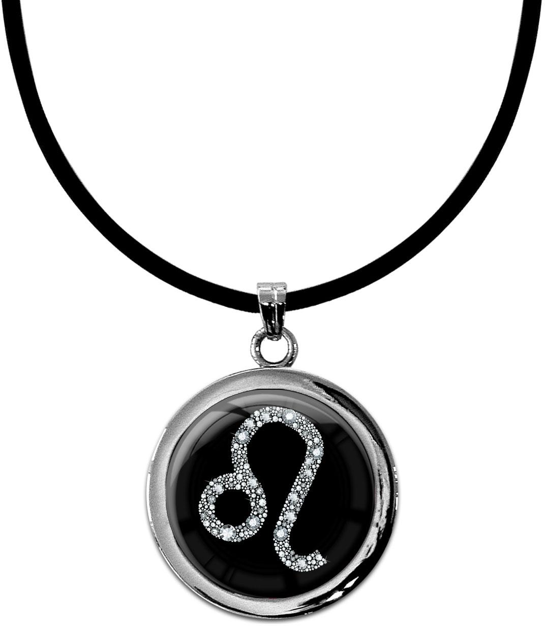 """metALUm Kettenanhänger in runder Form """"Sternzeichen Löwe in Silber"""""""