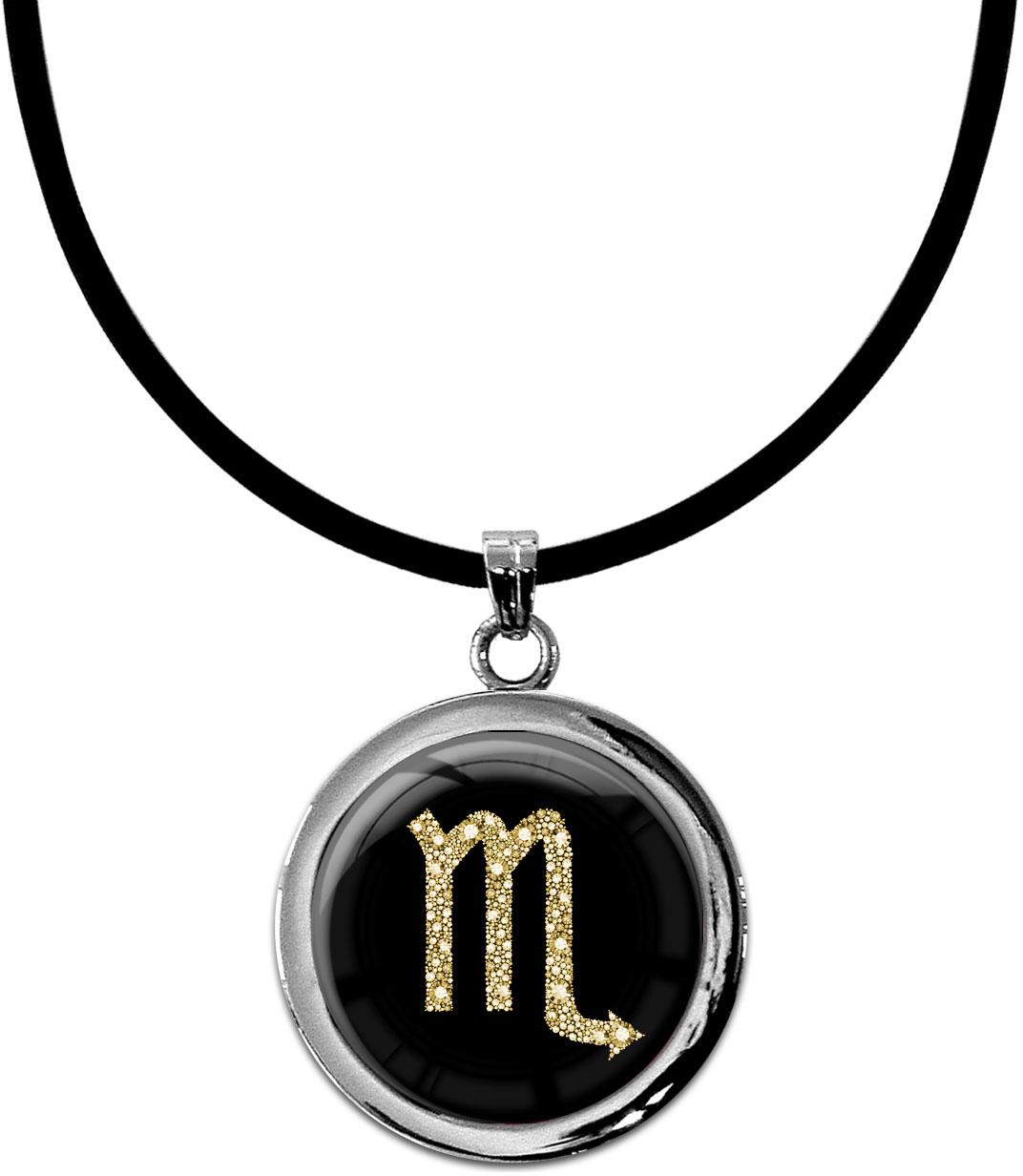 """metALUm Kettenanhänger in runder Form """"Sternzeichen Skorpion in Gold"""""""