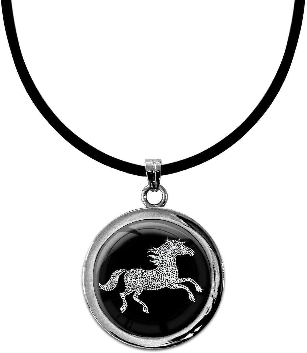 """metALUm Kettenanhänger in runder Form """"Pferd in Silber"""""""