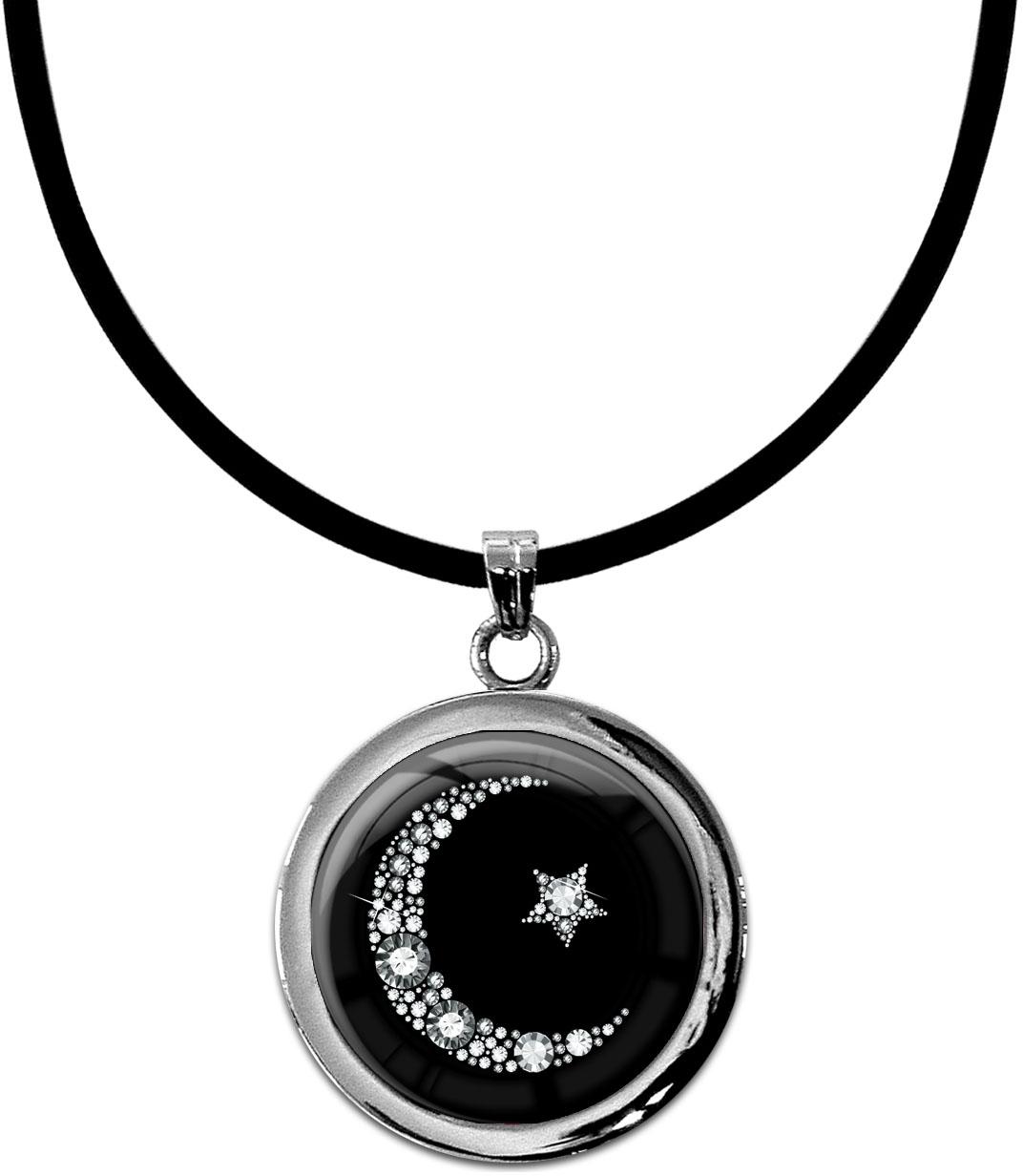 """metALUm Kettenanhänger in runder Form """"Islamischer Mond in Silber"""""""