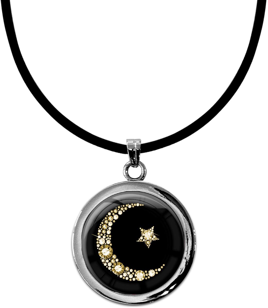 """metALUm Kettenanhänger in runder Form """"Islamischer Mond in Gold"""""""