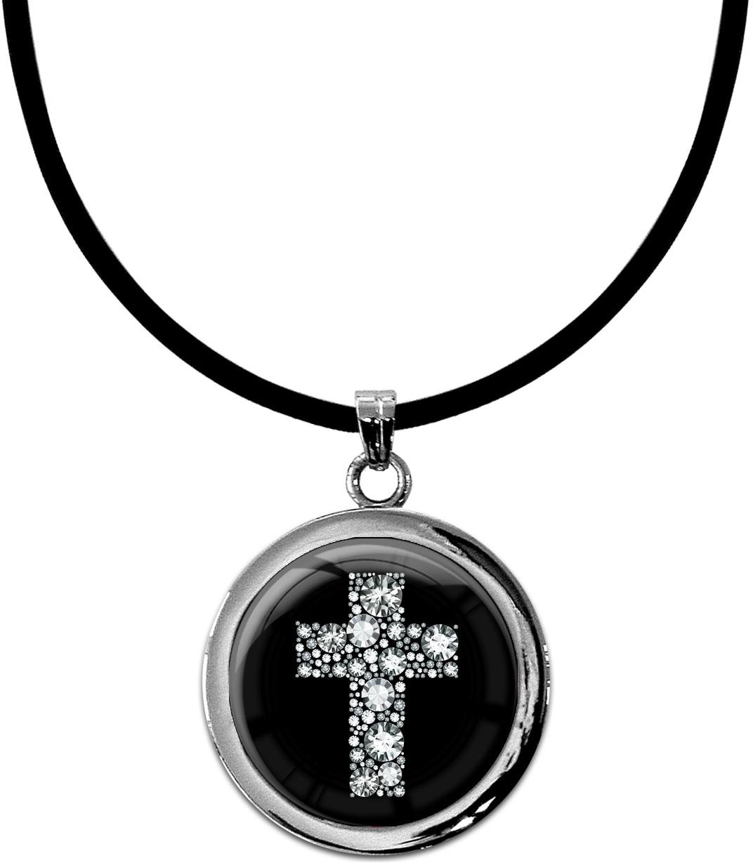 "metALUm Kettenanhänger in runder Form ""Kreuz in Silber"""