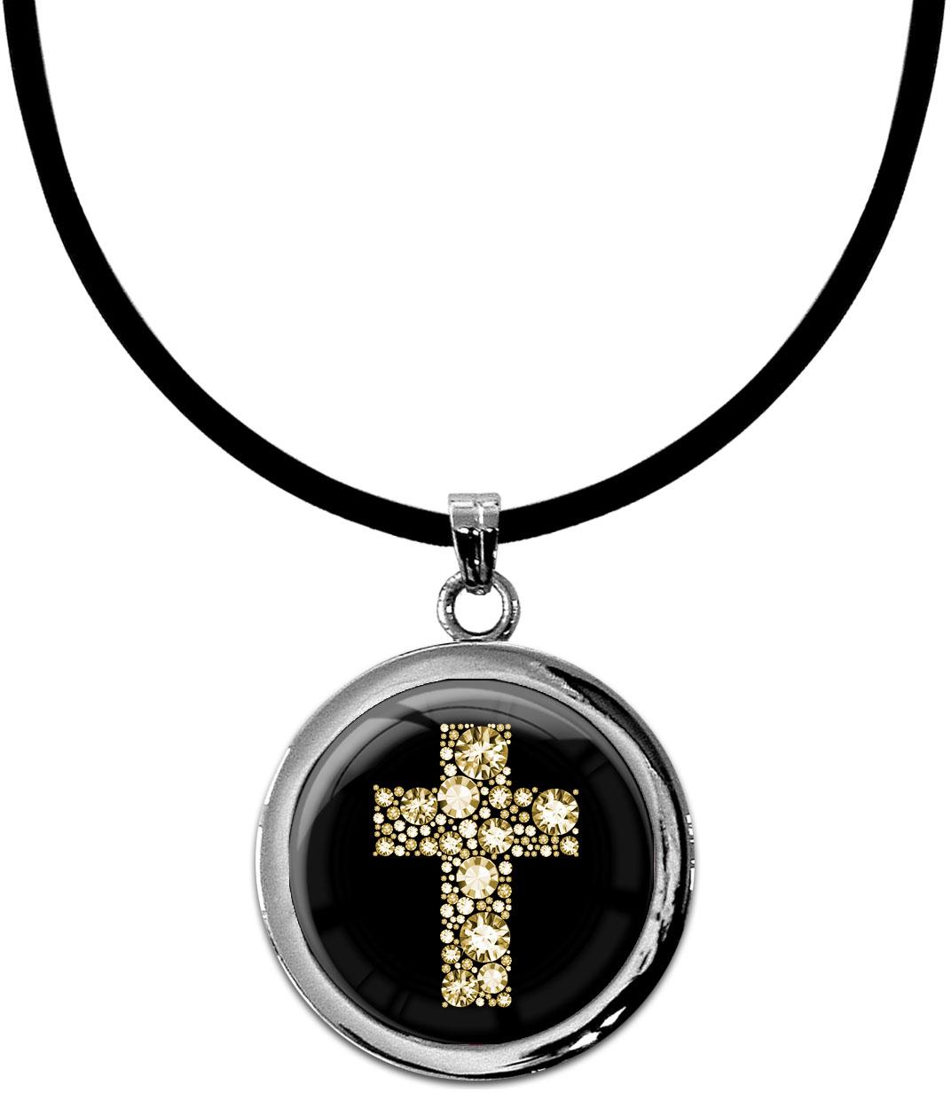 "metALUm Kettenanhänger in runder Form ""Kreuz in Gold"""