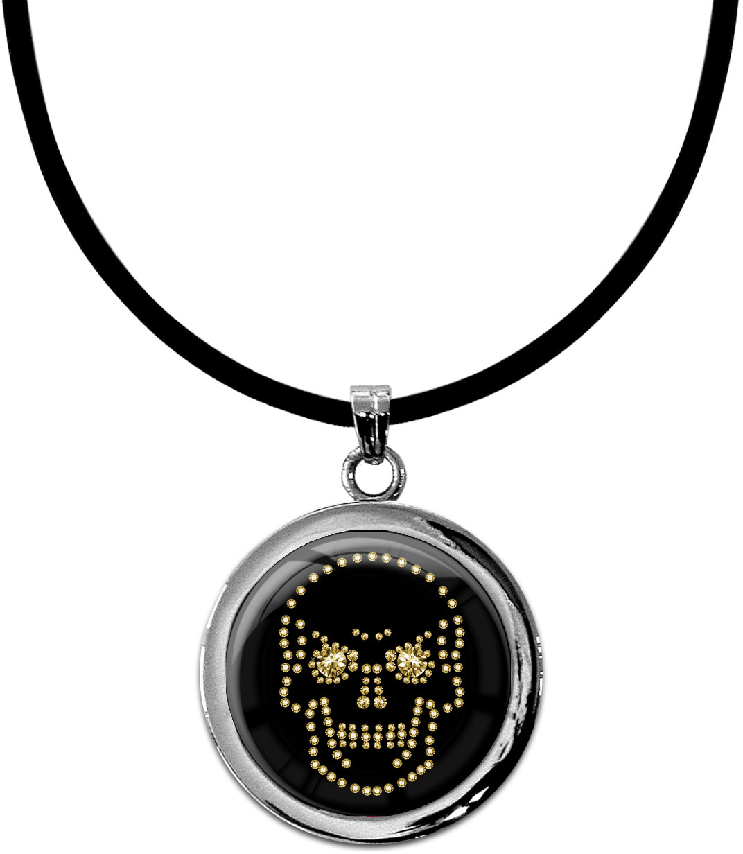 "metALUm Kettenanhänger in runder Form ""Totenkopf in Gold"""