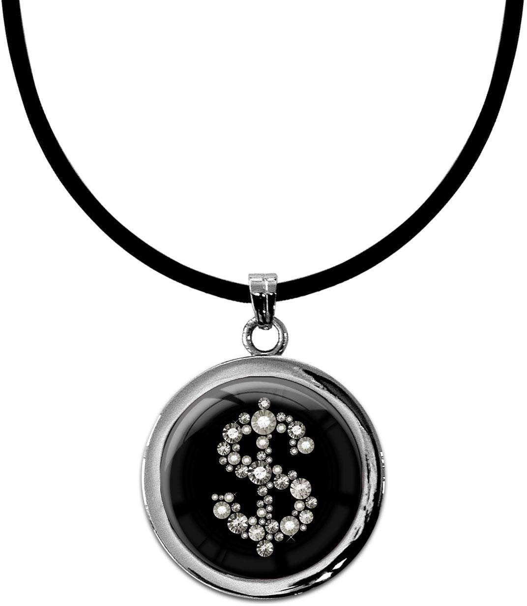"""metALUm Kettenanhänger in runder Form """"Dollarzeichen in Silber"""""""